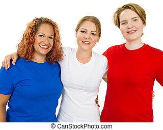 il portare, camicie blu, vuoto, bianco rosso, donne