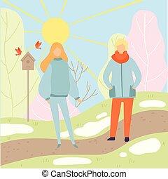 il portare, camminare, donna, inverno, primavera, giovane, vettore, parco, riscaldare, illustrazione, stagione, uomo, cambiare vestiti