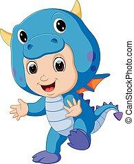 il portare, carino, bambini, drago, costume, cartone animato