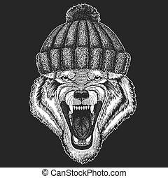 il portare, carino, cavallo, tatuaggio, inverno, distintivo, emblema, illustrazione, mano, lavorato maglia, zebra, animale, disegnato, pezza, cappello, logotipo