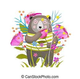 il portare, carino, fiore, orso marrone, vettore, appartamento, illustrazione, odorando, vestiti