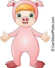 il portare, carino, maiale, costume, ragazza, cartone animato
