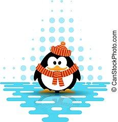 il portare, carino, poco, astratto, stile, illustrazione, fondo., vettore, cappello, cartone animato, sciarpa, pinguino