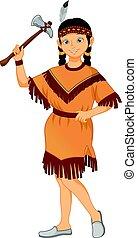 il portare, carino, poco, indiano americano, costume, tribù, ragazza, nativo