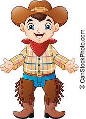 il portare, carino, ragazzo, cowboy, costume, felice