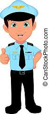 il portare, carino, ragazzo, ondeggiare, costume, pilota