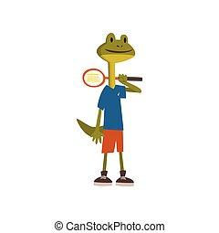 il portare, carino, tennis, carattere, giocatore, sport, standing, vettore, illustrazione, animale, racchetta, uniforme, humanized, cartone animato, rana