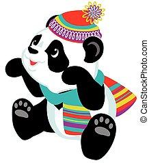 il portare, cartone animato, sciarpa, panda