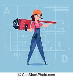 il portare, casco, femmina, sopra, lavoratore, astratto, uniforme, costruzione, piano, fondo, cartone animato, costruttore