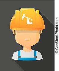 il portare, casco, horsehead, lavoratore, pompa, sicurezza, avatar, maschio