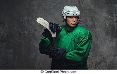 il portare, casco, ingranaggio protettivo, fondo., standing, giocatore, grigio, verde, hockey, bianco, bastone