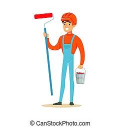 il portare, casco, suo, colorito, secchio, lavoro, carattere, illustrazione, vernice, vettore, sicurezza, pittore, presa a terra, arancia, sorridente, mani, rullo, vestiti