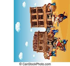 il portare, città, bambini, cowboy, costume, fondo, gioco, occidentale