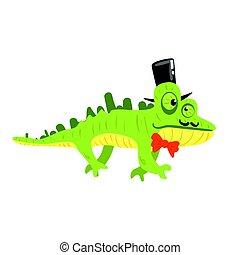 il portare, colorito, camaleonte, cima, carattere, illustrazione, citare, vettore, nero, hat., cartone animato