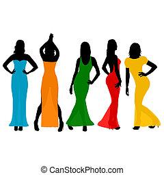 il portare, colorito, lungo, vestiti, donne