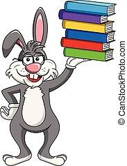 il portare, coniglio, isolato, pila, libri, presa a terra, coniglietto, occhiali