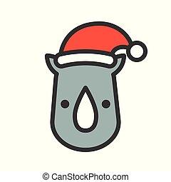 il portare, contorno, editable, rinoceronte, colpo, cappello santa, icona