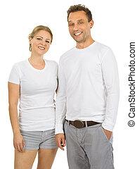 il portare, coppia, camicie bianche, vuoto