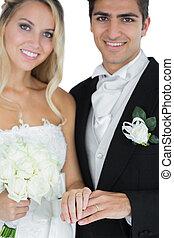 il portare, coppia, sposato, anelli, giovane, proposta, matrimonio