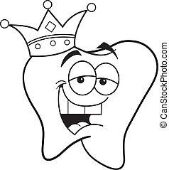 il portare, corona, cartone animato, dente