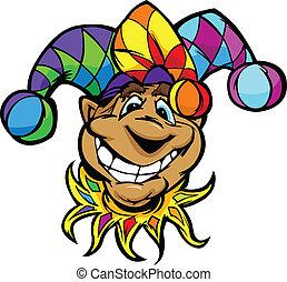 il portare, corte, colorito, immagine, giullare, faccia, vettore, divertimento, sorridente, cappello, cartone animato