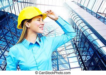 il portare, costruzione, protettivo, architect-woman, giovane, standing, casco, fondo