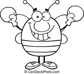 il portare, delineato, guantoni da box, ape