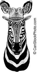 il portare, distintivo, cavallo, cowboy, ovest, immagine, emblema, mano, t-shirt, pezza, tatuaggio, hat., selvatico, disegnato, zebra, animal., logotipo
