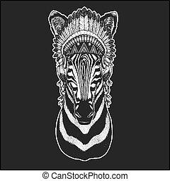 il portare, distintivo, cavallo, immagine, emblema, penne, stile, pezza, mano, boho, indiano americano, zebra, animale, disegnato, acconciatura, chic, logotipo, fresco, tatuaggio, nativo