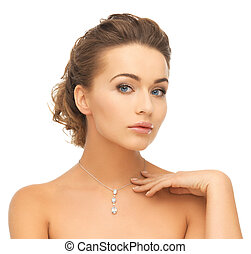 il portare, donna, diamante, baluginante, pendente