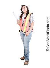 il portare, donna, giovane, isolato, protettivo, architetto, fondo, bianco, casco, standing.