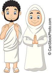 il portare, donna, ihram, musulmano, abbigliamento, cartone animato, uomo