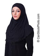il portare, donna, musulmano, giovane, hijab, bianco