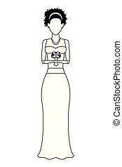 il portare, donna, nero, matrimonio, vestito bianco