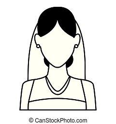 il portare, donna, nero, ritratto sposa, vestito bianco