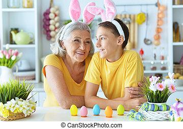 il portare, donna, nipote, coniglio, anziano, felice, orecchie