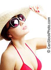 il portare, donna, occhiali da sole, giovane