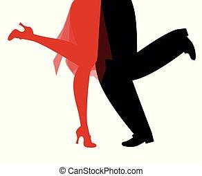 il portare, donna uomo, ballo, retro, fondo, charleston, bianco, gambe, vestiti