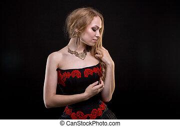 il portare, donna, vestire, rosso, ricamo