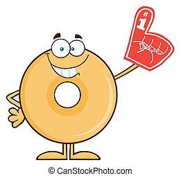 il portare, donut, sorridente, schiuma, dito