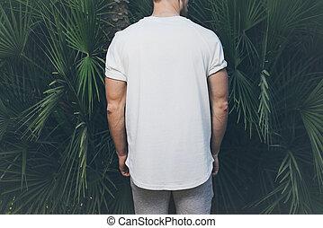 il portare, estate, barbuto, enorme, foto, mockup, indietro, muscolare, t-shirt, fondo., time., verde, vista., vuoto, palma, orizzontale, bianco, uomo