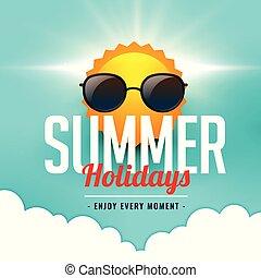 il portare, estate, occhiali da sole, sole, vacanze, fondo