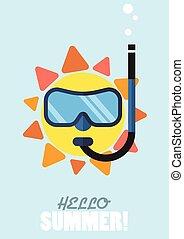 il portare, estate, snokel, sole, maschera, tuffo, ciao