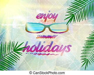 il portare, estate, sunglasses., cielo, sole