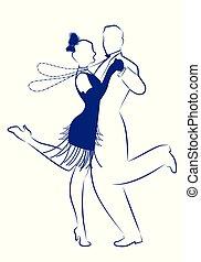 il portare, falda, ragazza, ballo, 1920s, bianco, lungo, elegante, fondo., inchiostro, collane, linea, uomo, charleston., disegno, vestiti