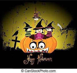 il portare, festa, halloween, bambini