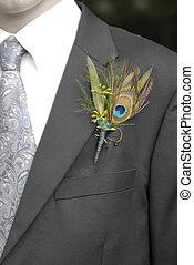 il portare, fiore, completo, cravatta, uomo, formale