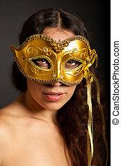 il portare, foto, donna, maschera, giovane