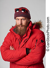 il portare, giacca, inverno, rosso, uomo