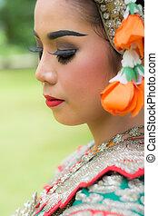 il portare, giardino, signora, giovane, tradizionale, ritratto, tailandese, vestire